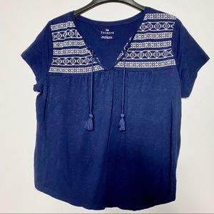 Talbots White Embroidered Navy Tunic